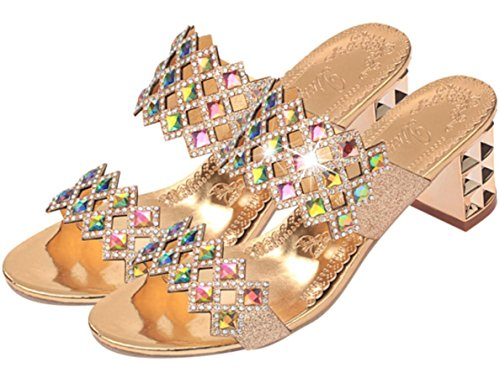 Talloni delle donne YCMDM Estate Slingback PU glitter casual tacco grosso Sparkling Walking Glitter Silver Gold , gold , us7.5 / eu38 / uk5.5 / cn38