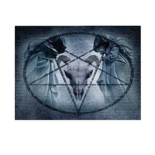 (Horror House Decor Photography Background,Artwork with Pentagram Icon Goat Skull Devil Dream Hoody Figure Exorcist Backdrop for Studio,7x5ft)