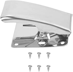 Vbestlife Fish Cleaning Fillet Clamp - Stainless Steel Deep-jaw Fish Fillet Clamp Tail Clip with Mounting Screws for Cleaning Table Bait Board (2 Pcs)