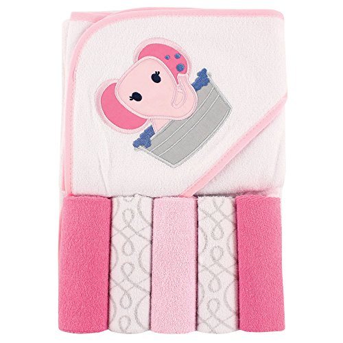 Luvable Friends Hooded Towel and 5 Washcloths, Pink Elephant ()