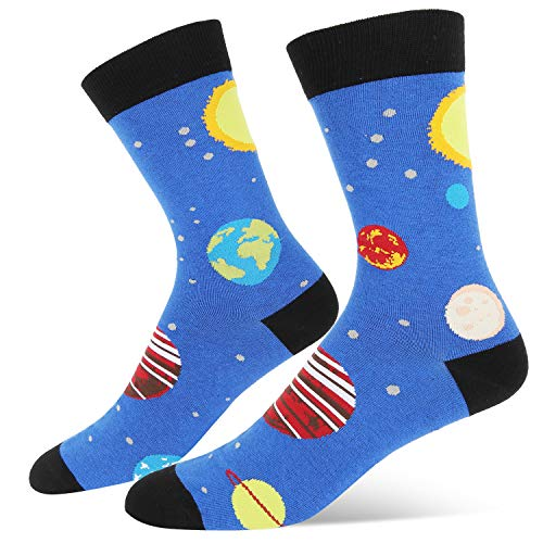 Men's Novelty Crazy Funny Space Crew Socks Planet Solar System Pattern, Cool Gifts for Astronomy Enthusiast