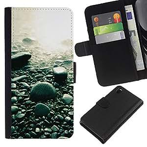 YiPhone /// Tirón de la caja Cartera de cuero con ranuras para tarjetas - Guijarros de la playa - Sony Xperia Z3 D6603