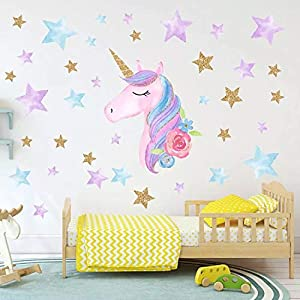 Cocobee Unicorn Wall Stickers Rainbow Colours Wall Stickers Stars Wall Decals for Girls Baby Children Bedroom Playroom…
