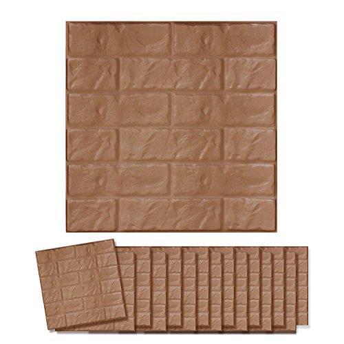 貼れる柔らかレンガパネル 16枚 | セーフティーグッズ 保護パネル 安全グッズ DIY デコレーション ブラウン(C024-16-S2) B0756S6WK7 ブラウン ブラウン