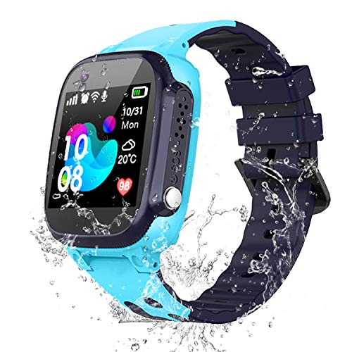 Kids Waterproof Smart Watch for Students, Girls Boys Touch Screen Smartwatch with AGPS/LBS Tracker Voice Chat SOS Anti-Lost Calling Phone Watches, Compatible with iOS Android