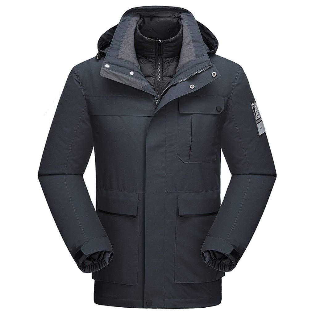 Juesi Men's Parka Jacket, Outdoor Thickened Windproof Waterproof Down Liner Detachable Sport Coat Winter Hoodie Outwear Gray by Juesi