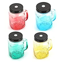 Ice Cold Mason Jar Glass Juice Bottle With Lid Use With Straws 15 OZ.- Ship based on Random Color