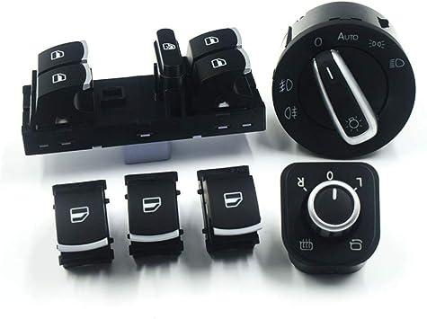 Tbparts Chrom Seitenspiegel Schalter Für Scheinwerfer Und Fenster 6 Stück Für Cc Tiguan Passat B6 Golf 5 6 Jetta Mk5 A Auto
