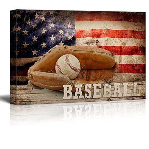 Baseball Americana Patriotic Ball and Glove Sport Grunge Flag