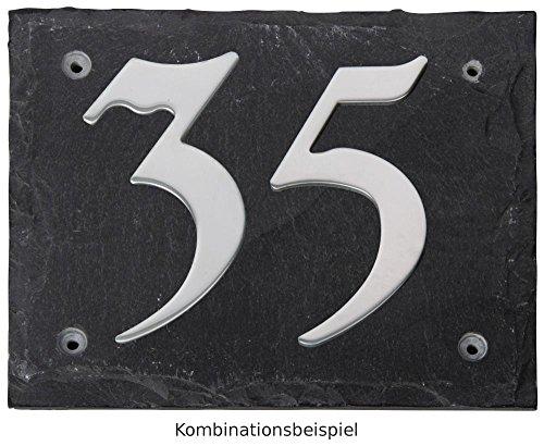 Esschert Design Set: Hausnummer 38 aus Edelstahl auf Schieferplatte (18 cm x 15 cm), Schriftbild Kreide