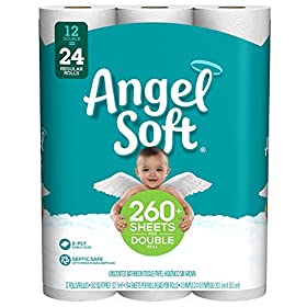 Angel Soft Toilet Paper, 12 Double Rolls, 12 = 24 Regular Rolls, 264 Sheets per roll – Packaging May Vary