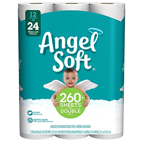 Angel Soft Toilet Paper, 12 Double Rolls, 12 = 24 Regular Ro