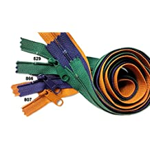 """Sale 30"""" Handbag Zipper (Special Assorted 3 Colors) YKK #4.5 with Extra-long Pull Color Burnt Orange 807, Purple 866, Kelly Green 529 (3 Zippers /Pack)"""