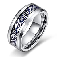 Eloi Jewelry® Men's 8MM Blue Celtic Dragon Tungsten Carbide Band Wedding Ring Size 6-13