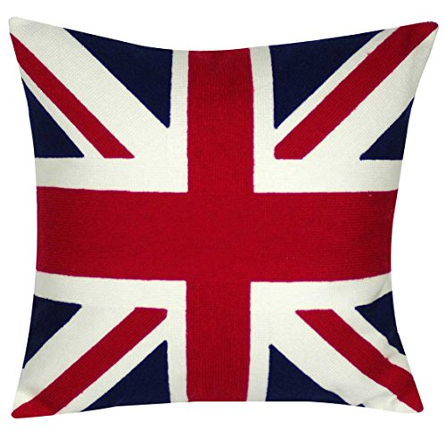 DECOPOW United Kingdom Flag Throw Pillow Covers,Union Jack Throw Pillow Cover,Square 18 inch Decorative Canvas Pillow Cover (UK-Flag)