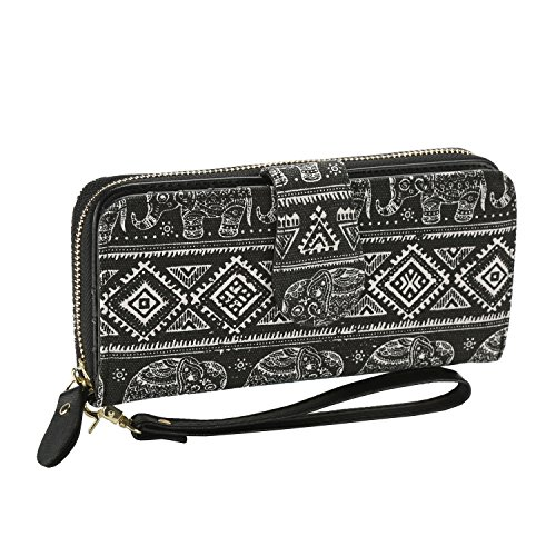 Bohemian Purse Wallet Canvas Elephant Pattern Handbag with Coin Pocket and Strap (Large, New Black Elephant)