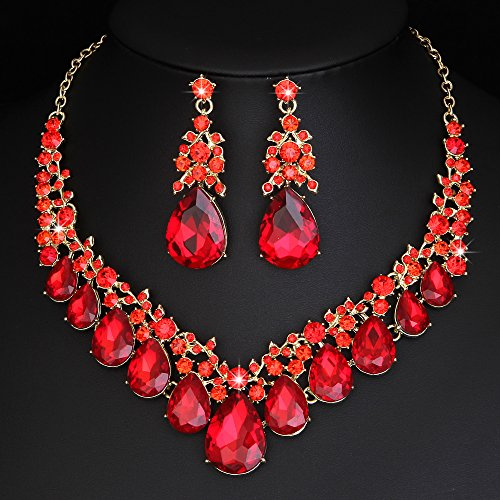 Youfir Bridal Rhinestone Crystal V-Shaped Teardrop Wedding Necklace and Earring Jewelry Sets for Brides Formal Dress (Red) by Youfir (Image #2)
