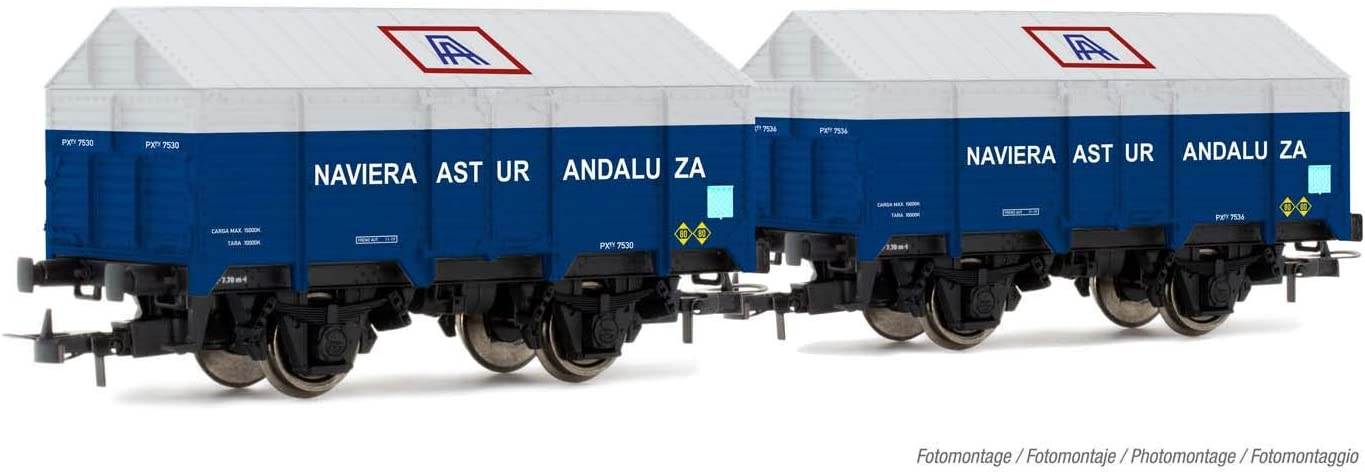 2-Unit Pack 2-Axle Covered Wagons Type PX Naviera Astur Andaluza Electrotren HE6010 R.N. Period III Rolling Stock