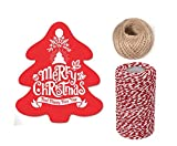 OxoxO 100PCS Christmas Tree Shape Kraft Tags for Christmas Gift Tags Decorating Christmas Tree Handmade Work With Jute Twine And Cotton Rope