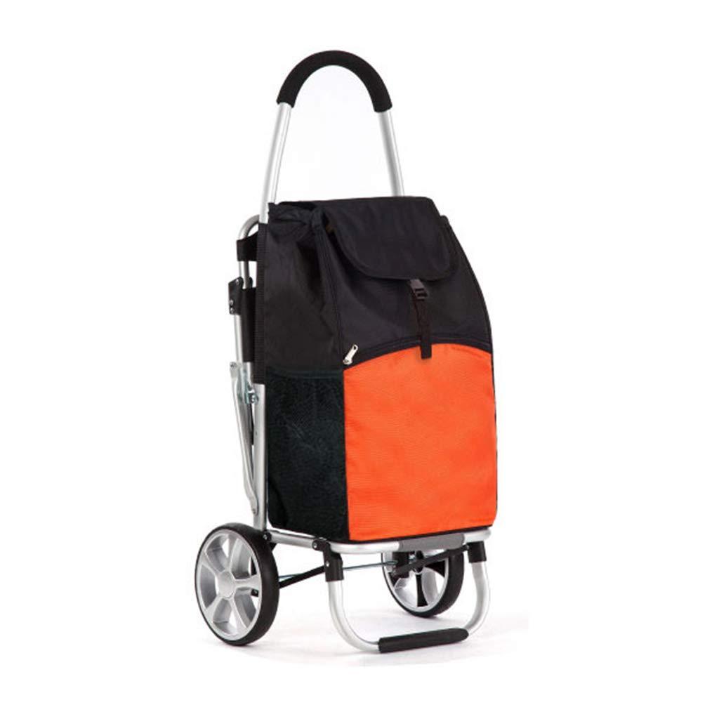 J-JIAショッピングキャリー 軽量ユーティリティ折り畳み式ショッピングカート(食料用)ウォータープルーフマーケットショッピングトロリー(座席付き)/ 2輪(ブラック/オレンジ) B07NSBK2XS