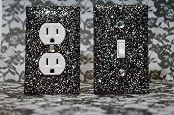 SET OF STARRY NIGHT BLACK AND SILVER Glitter Switch Plate Outlet Covers ALL Styles Available! (Batroom Decor)