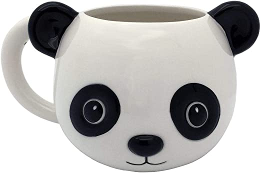 EPFamily Cute White 3D Panda Mug Funny Porcelain Coffee Mugs Set Small Ceramic Tea Cups Black with Lid and Spoon Gifts for Women Men Mom Grandma 14 Oz