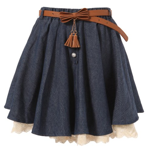Richie House Big Girls' Skirt with Ivory Lace Hem and Pearl Accents RH0885-B-9/10