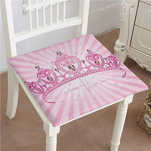 (Mikihome Cushion New Theme Pink Heart Shaped Princess Crown on Radial Backdrop Girls Room Pink Light Indoor Garden Patio Home Kitchen Office Chair Pads Seat Pads 14
