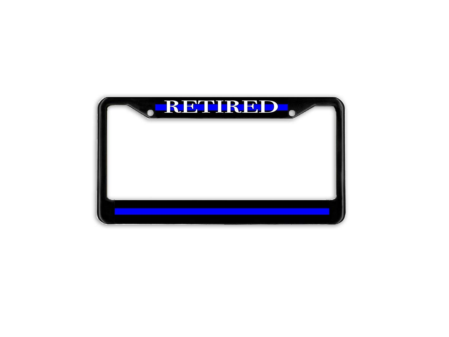 LOHIGHH Retired Thin Blue Line Police Support Blue Lives License Plate Frame Holder Black