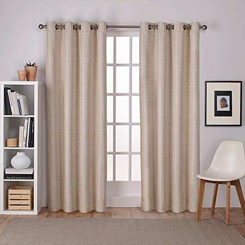 Exclusive Home Curtains Raw Silk Thermal Window Curtain Panel Pair with Grommet Top, 54x84, Taupe, 2 Piece ()