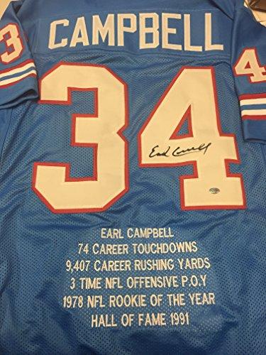 Earl Campbell Autographed Signed Houston Oilers Custom Stat Jersey GTSM  Campbell Hologram 05ec839de