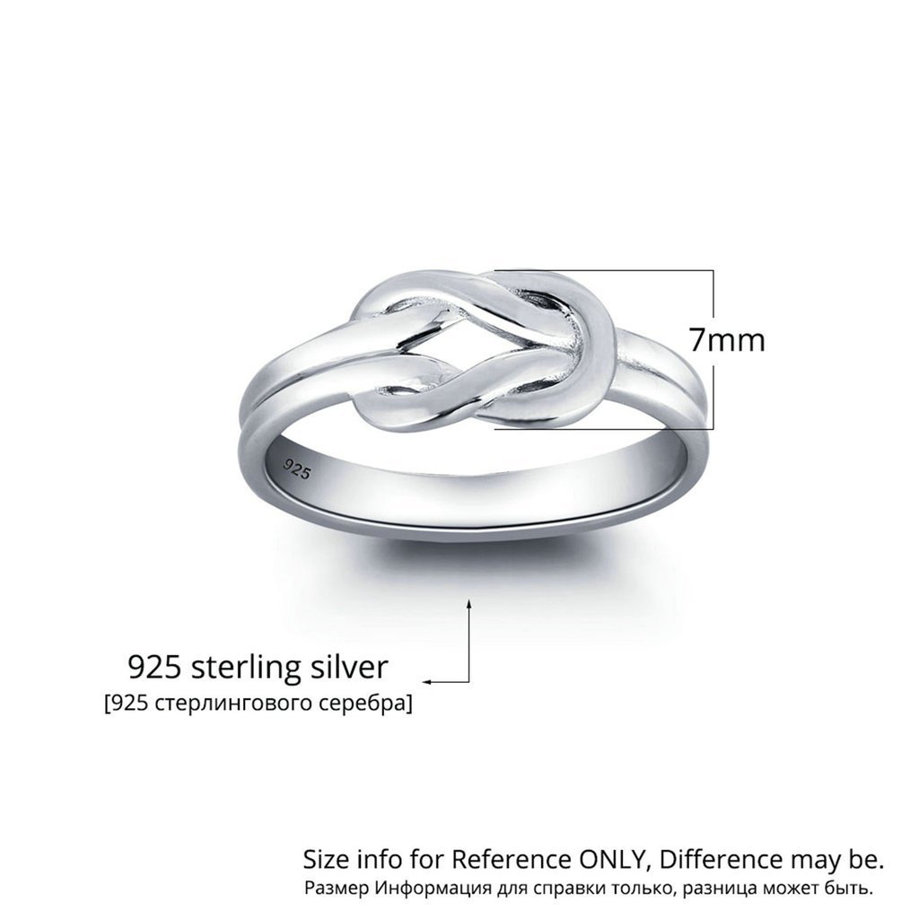 Daesar Silver Plated Wedding Bands WomensLove Rings Knot Wedding Bands for Women 7MM