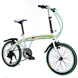 Cnlinkco 20″Folding Bike Compact 6 Speed Bicycle Green For Sale