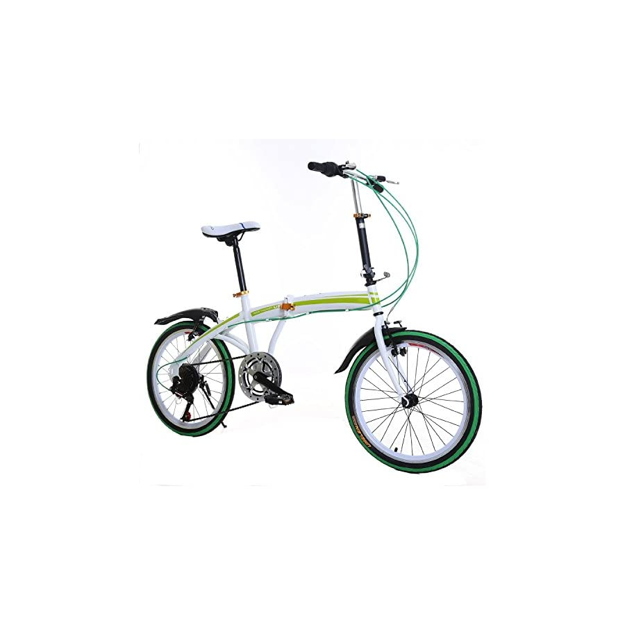 "Cnlinkco 20""Folding Bike Compact 6 Speed Bicycle Green"