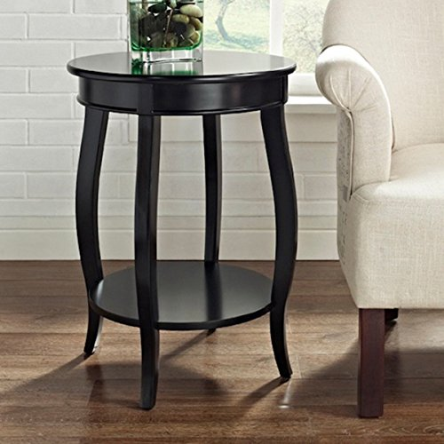 Oh! Home Seaside Black Round Table with Shelf by Powell