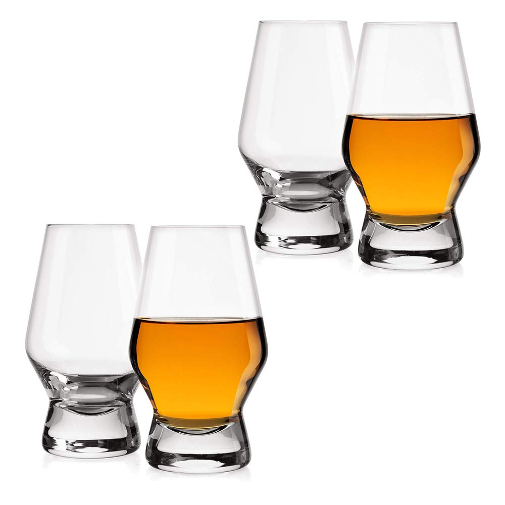 JoyJolt Halo Crystal Whiskey/Scotch Glasses set of 4. Perfect Whisky Glass for Liquor or Bourbon Tumblers. 7.8 Once Whiskey Glasses.