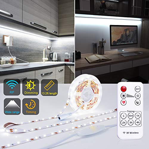 PANGTON VILLA Under Cabinet Lighting RF Wireless Remote Timing Function, 13ft White LED Strip 6000K Flexible Full kit, DIY Kitchen, Cupboard, Desk, Monitor Back, Shelf, ()