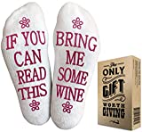 "WINE SOCKS + GIFT Ready Packaging - Best Gifts for Women Under 10 Dollars and Wine Accessories and Gifts""If You Can Read This Socks Bring Me Some Wine"" Funny socks women"