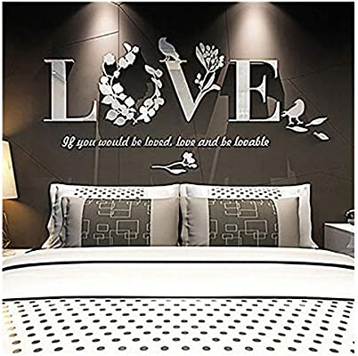 Set of Love Heart Mirror Tiles Kitchen Wall Sticker Stick on Decal Home Bedroom