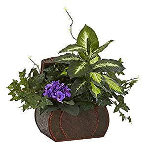 Nearly Natural 8079-PP African Violet & Mix Greens Decorative Chest Artificial Plant, Purple 65