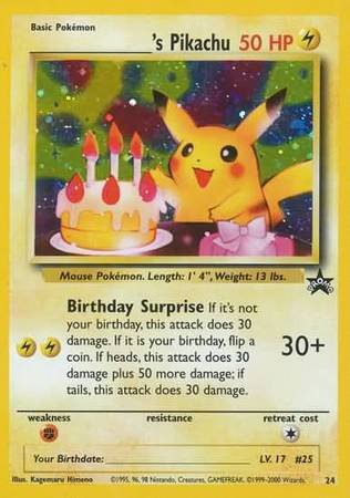 Pokemon - _____39;s Pikachu (Birthday Pikachu) (24) - Wizards Black Star Promos - -
