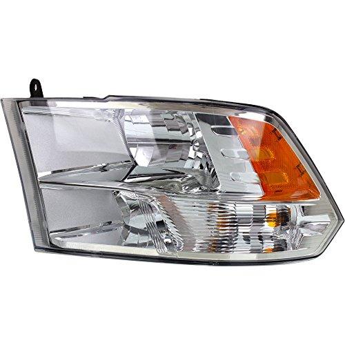 Headlight for Ram Full Size P/U 13-18 Left Assembly Halogen Standard Type Chrome Interior All Cab Types