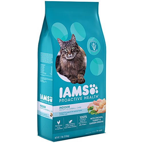 IAMS Proactive Health Adult Indoor Weight Control & Hairball Control Dry Cat Food with Chicken, Turkey, and Garden…