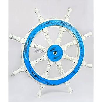 Premium Decorative Hand Crafted Ocean Blue Antique White Nautical Ship Wheels   Vintage Home Wall Decor   Nagina International (24 Inches)
