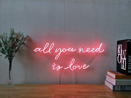 All You Need Is Love Real Glass Neon Sign For Bedroom Garage