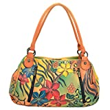 Anna by Anuschka Women's Genuine Leather Ruched Hobo Shoulder Bag | Original Artwork | Safari Bloom