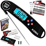 Image of Kizen Instant Read Meat Thermometer - Best Super Fast Talking Digital Thermometer for Food, Kitchen, Cooking BBQ, Grill! Includes many BONUS extras! (Black)