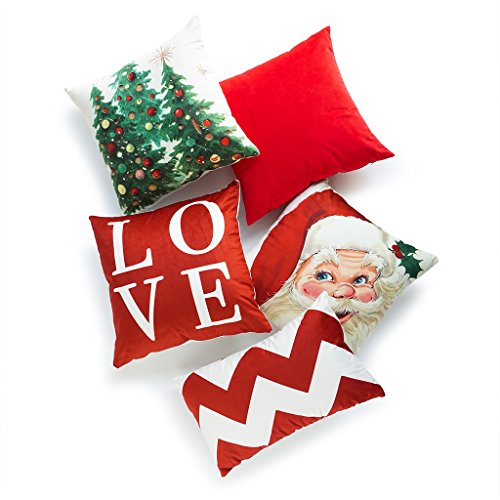 Hofdeco Set of 5Pcs Holiday Throw Pillow Case Vintage Santa Claus Christmas Tree Love Script Chevron Zigzag Lumbar Decorative Sofa Cushion Cover 18x18 12x20 inches
