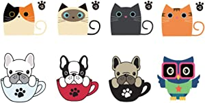 Removable Switch Sticker, 8 Pcs Cute Cat/Dog and Owl- Cartoon Wall Sticker, Light Switch Decor Decals, Office Home Decoration Family DIY Decor Art Stickers Home Decor Wall Art for Kids Bedroom