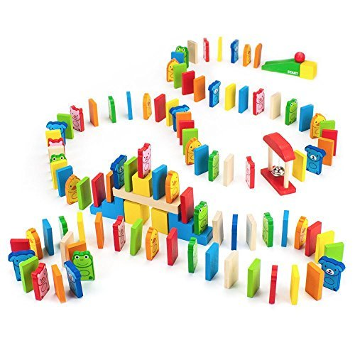 Wooden Wonders Backyard Animals Domino Rally Adventure (110 pieces) by Imagination Generation by Imagination Generation